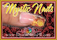 Red pepper flakes and citrus orange fimo encased in acrylic.  #nails #mystic nails #jenz art creations @Mystic Nails