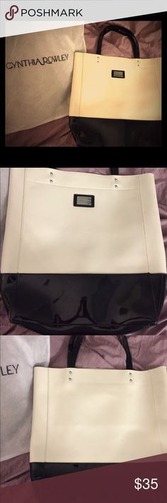 Cynthia Rowley shopping tote in B/W Patent leather black and white/off-white shopping tote. Deep with ample arm room and one pocket. Includes original dustcover bag. Cynthia Rowley Bags Totes