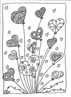 Hearts coloring pages Colouring Pages, Adult Coloring Pages, Coloring Sheets, Coloring Books, Kids Colouring, Doodle Drawings, Doodle Art, Art For Kids, Crafts For Kids