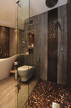 Love the penny shower floor. Luxury Interiors, Art, Creativity, Luxury, Glamour, Design For more inspirations: http://www.bocadolobo.com/en/inspiration-and-ideas/