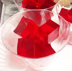 For Red Rum cube shots, use Bacardi light rum instead of vodka. Substitute cherry Jello and cherry Kool Aid.