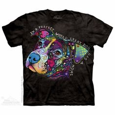 """Perfect World T-Shirt - $18.95 - This color tee comes with a heartfelt message... """"In a perfect world, every dog has a home""""."""