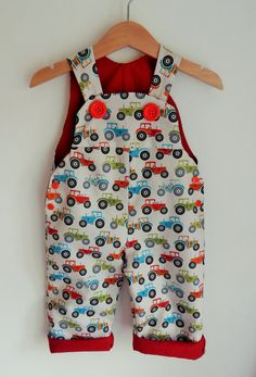 The 'Fun Tractor' Dungaree/Romper/Overall Baby by YellowBugDesign