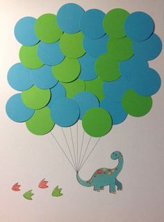 This adorable dinosaur balloon guest book will be a great addition on the wall of your nursery!  Can fit 35 balloons max on the paper. I send it