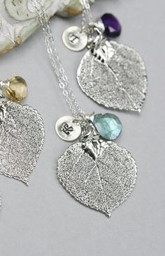 lovely leaf necklaces Love the simplicity of these.