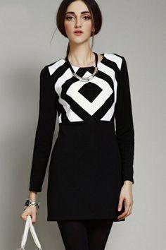 Standout Contrast Geo #Dress- OASAP.com  The dress featuring geo pattern. Color block. Round neck. Long sleeve. Back zipper. #vintagedresses #fashiondresses