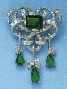Marie Valerie of Austria's Emerald and Diamond Brooch - (Queen Elisabeth's…