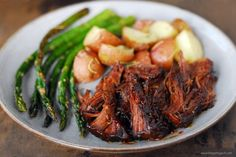 This Barbecue Pot Roast recipe is a delicious twist on the traditional pot roast! Plus, the leftovers are perfect for barbecue roast beef sandwiches. Pot Roast Recipes, Pork Recipes, Crockpot Recipes, Dinner Recipes, Cooking Recipes, Kitchen Recipes, Drink Recipes, Yummy Recipes, Recipies