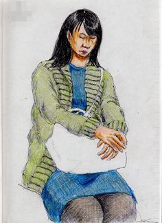 This is a sketch of the lady who put on the green cardigan I drew in the train.