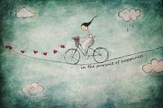 a simple quirky painting of a girl on her bicycle in the pursuit of happiness inspired by love.life and freedom / thanks for looking xx / Copyright © Amanda Cass All rights reserved my images may not be reproduced in any form without my written permission • Buy this artwork on stickers, phone cases, home decor, and more.
