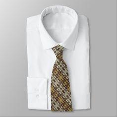 #rustic - #Beige Brown Ochre Yellow Eclectic Ethnic Look Neck Tie