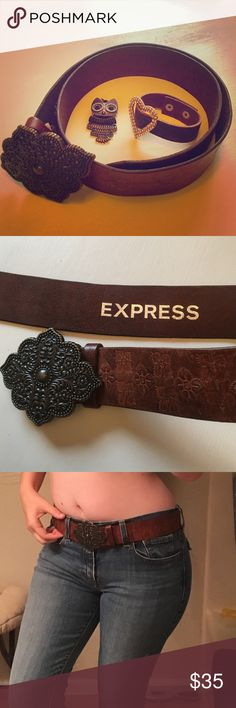 🐮Express Leather Cowgirl Belt🐮 A beautiful addition to any cowgirl's closet! This leather belt was given to me by a friend who piled up her things in a bag. I immediately fell for this belt, it's so unique, but unfortunately I have NEVER worn it. It also looks like my friend didn't either. Says Italian leather, as you can see, and even smells leathery. Beautiful designs and looks great on! It hooks on, but doesn't come loose. Express Accessories Belts