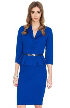 Elegantné dámske sako s opaskom v páse od Etoile. Peplum Dress, Dresses For Work, Belt, Texture, Waffle, Fashion, Belts, Surface Finish, Moda