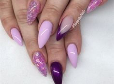 Purple And Lavender Stiletto Nails by MargaritasNailz
