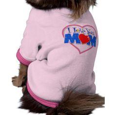 "Roupa para cachorro ""I Love You Mom"" Camisa Ringer Para Cachorro"