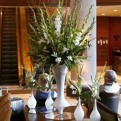 #c2mdesigns #floral #floraldesign #centerpiece #lobbyflowers #omniprovidence #rhodeisland #white #gladiolus #dendrobiums #orchids #lilies #big #style #contemporary #designsthatrock #likeC2MdesignsFacebook Designer: #christinemccaffery