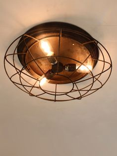 Industrial caged flush light with rust effect. Flush Lighting, Lighting Online, Cage, Your Design, Rust, Industrial, Ceiling Lights, Industrial Music, Ceiling Lamps