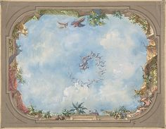 Design for Trompe l'Oeil Stairway Ceiling, Hôtel Hope    Jules Edmond Charles Lachaise (French, died 1897)