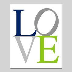 SALE - LOVE Nursery Art - 8x10 Print - Navy Blue, Apple Green, Gray