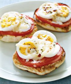 These English Muffin Egg Pizzas are easy enough for kids to make their own breakfast—just be sure to keep hard boiled eggs on hand! | Photo by Antonis Achilleos for Real Simple