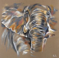 Tableau 3D d'un Elephant d'Afrique solitaire vu de face : Peintures par peintures-axelle-bosler