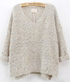 Beige Long Sleeve V Neck Mohair Sweater EUR€26.49