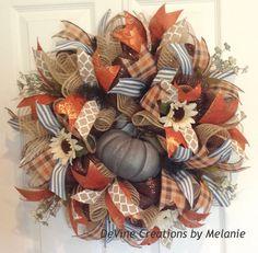 Fall Wreath Fall Burlap Wreath Pumpkin by DeVineCreationsbyMel by dana Thanksgiving Wreaths, Autumn Wreaths, Holiday Wreaths, Wreath Fall, Pumpkin Wreath, Spring Wreaths, Thanksgiving Ideas, Summer Wreath, Fall Crafts