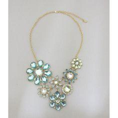 JESSICA /MD Multi Blue Stone Flower Statement Necklace