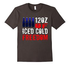 Mens 12oz of Ice Cold Freedom - US America Flag RedNeck Shirt 2XL Asphalt