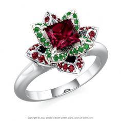 "White Gold Lotus Flower Ring with Rhodolite Garnet, Emeralds and Rubies - ""Lotus Blossom Petite Princess"""