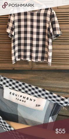 Plaid , navy and white , short sleeve blouse Plaid, navy and white, satin , blouse Equipment Tops Blouses