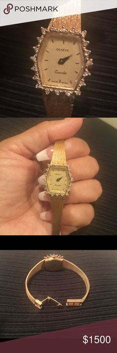 Diamond & gold watch 14kt gold and diamond ladies watch. Geneve Swiss. I have a 7 inch wrist and it fits. It can be alter to make bigger or smaller Geneve Other
