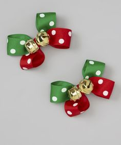 This Red & Green Polka Dot Jingle Bell Bow Set by tiny bundles is perfect! #zulilyfinds
