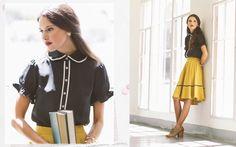 Ruche - School House Ruffle Detail Blouse & Green Gables Circle Skirt in Mustard