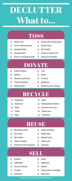 Declutter- What to toss, donate, recycle, reuse and sell [Infographic] How to declutter and organize, decluttering, decluttering home #declutter