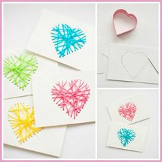 Use Scrap Yarn And A Heart Cookie Cutter As A Template To Make These Cute St Valentine's Day Cards