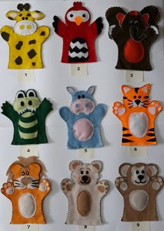 Fantoches bichinhos da selva no Elo7 | Mundinho da Angela (CB78B9) Flower Crafts Kids, Animal Crafts For Kids, Art For Kids, Felt Puppets, Felt Finger Puppets, Puppet Crafts, Felt Crafts, Felt Kids, Diy Quiet Books