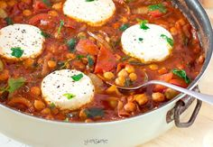 Deliciously spicy and smoky, my vegan chickpea shakshuka is packed with nourishing veggies, and is ready in just 30 minutes. | yumsome.com