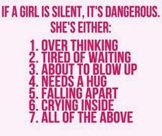 If a girl is silent it means...