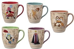 Disney Store Chip Dale Queen Bambi Hook Jiminy Cricket Classic Coffee Cup Mug  #DisneyStore