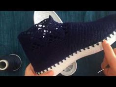 Lacivert Bot Örgü Ayakkabı Part 1 - YouTube Crochet Sandals, Crochet Shoes, Crochet Slippers, Baby Girl Shoes, Girls Shoes, Cotton Crochet Patterns, Crochet Baby Clothes Boy, Navy Blue Boots, Make Your Own Shoes
