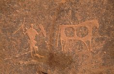 Karkul Tahl, Sudan. Decorated cow with semi-polled horns followed by clothed man holding shield and curved stick.