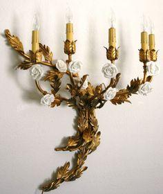 VINTAGE ITALIAN TOLE SCONCE GOLD LEAF, GILT w/ WHITE PORCELAIN ROSES | eBay
