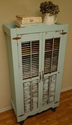 SOLD - Cabinet with Vintage Shutters and Hardware in Tiffany Blue