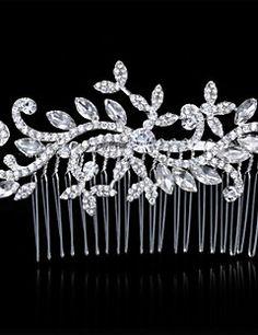 Bride s Flower Shape Imitation Pearl Rhinestone Forehead Wedding Hair Combs  Headbands 1 PC Silver Headband a14830738c50