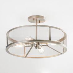 Mesh Industrial Semi Flush Mount Ceiling Light brushed_nickel