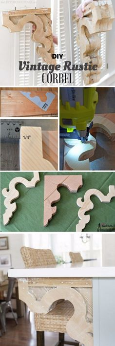DIY corbels can be used to add pizzazz to a kitchen stand, positioned beneath cabinets or just about everywhere there's a walkway.