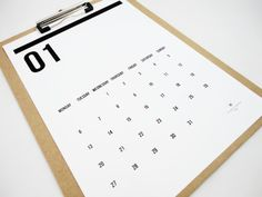 Double Digits Printable Calendar 2014 Instant Download Monthly Calendar in Black and White on Etsy, £7.49