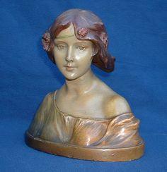 Art Nouveau Bust   Lovely good quality art nouveau plaster bust c1905