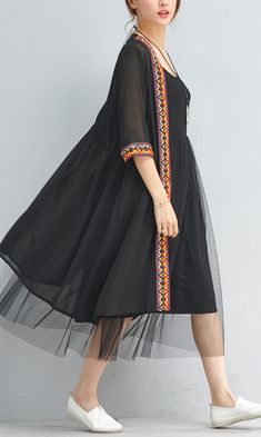 07d7193f44d Summer fashion black chiffon coat plus size embroidery sundress half sleeve  cardigan. Omychic Linen Dress